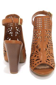 Bamboo Mash 03 Tan Laser Cut High Heel Booties
