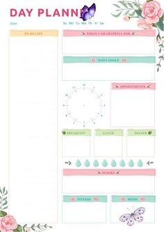 Day Planner with Blossom Roses Pattern Free Printable Day Planner with Blossom Roses Pattern PDF Download<br>