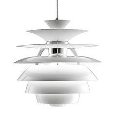 Louis Poulsen PH Snowball Modern White Pendant Light by Poul Henningsen Ceiling Light Fittings, Ceiling Lamp, Ceiling Lights, Pendant Lamp, Pendant Lighting, White Pendant Light, Suspension Design, Diffused Light, Snowball