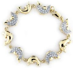 18k Gold Over Sterling Silver and Cubic Zirconia Embellished Dolphin Bracelet