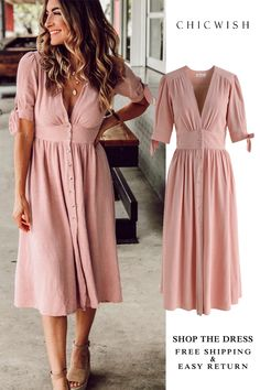 f59f87b80040 Free Shipping   Easy Return. Up to 30% Off.Summer Edition Button Down V-Neck  Dress featured by boymominjeans.  dress  prettydress  partydress   womenfashion ...