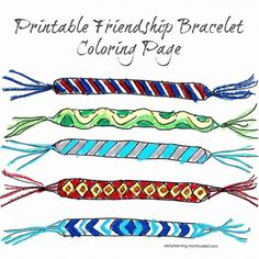 art projects about friends themes | Cute printable coloring page for your little friendship bracelet ...