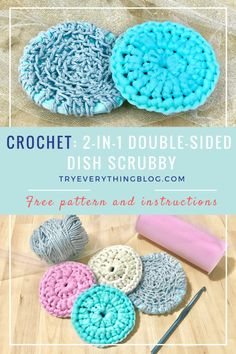 "Crochet Side Stitch Crochet Double Sided Dish Scrubby Free Pattern - Learn how to crochet a double-sided dish scrubby using two different textured ""yarns"". Get ready to toss those gross sponges! Scrubbies Crochet Pattern, Crochet Dishcloths, Crochet Stitches Patterns, Tunisian Crochet, Sewing Patterns, Crochet Simple, Crochet Diy, Crochet Gifts, Crochet Ideas"