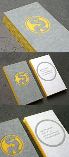Scott Regans Letterpress Business Card_This funny business card was printed by Beast Pieces for photographer Scott Regan. The clever play on Regan's initials makes it looks like a super hero's emblem that really suits the cool yellow and gray theme!