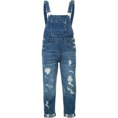 Guild Prime Distressed Cuff Detail Overalls (11.830 RUB) ❤ liked on Polyvore featuring jumpsuits, blue, blue bib overalls, distressed overalls, overalls jumpsuit, blue jumpsuit and blue overalls