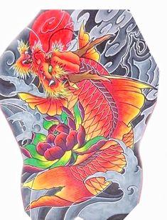 Koi Dragon Tattoo, Carp Tattoo, Koi Fish Tattoo, Fish Tattoos, Japanese Snake Tattoo, Japanese Tattoo Designs, Asian Tattoos, Desenho Tattoo, Irezumi