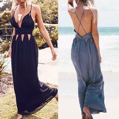 NEW SUMMER BEACH DEEP V NECK SEXY HOLLOW BACKLESS EVENING LONG MAXI BOHO DRESS #Unbranded #Maxi #SummerBeach