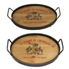 EC World Imports La Maison Du Chiarello Wood and Metal Serving Tray