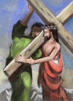 Drawing: Simon of Cyrene cross