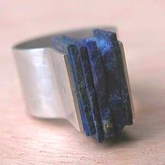 Armande Potel-Martin Sterling silver ring with square lapis slabs