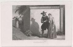 Johannes Philippus Lange | Man en vrouw gearmd, Johannes Philippus Lange, 1849 | Een man en vrouw lopen gearmd langs een buitenmuur, links loopt op de achtergrond een tweede paar.