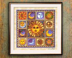 ☼ Sun & Moon ☾ -print by artist dan morris Art Of Dan, Dan Morris, Moon Symbols, Square Art, Sun Art, Moon Print, Zodiac Art, Tapestry Wall Hanging, Fine Art Paper