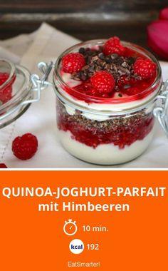 Quinoa-Joghurt-Parfait mit Himbeeren | Kalorien: 192 Kcal - Zeit: 10 Min. | http://eatsmarter.de/rezepte/quinoa-joghurt-parfait