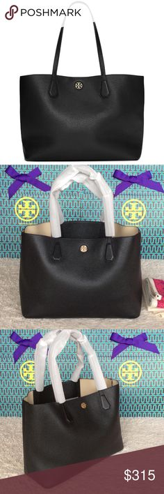 "NEW TORY BURCH PERRY TOTE Authentic. Brand new with tags. This bag has TB dust bag. PLEASE NO TRADE. THE PRICE IS FIRM. Perry Tote feels as good as it looks: cool slouch and buttery pebbled leather with a contrast-color interior. Finished with an open pocket and a compartment for your phone, it's lightweight and easygoing -- for work, weekends and wherever in between.  Pebbled leather with resin backing  Open top  Flat leather handles with 9.4""drop  Interior hanging pocket with 2 open…"