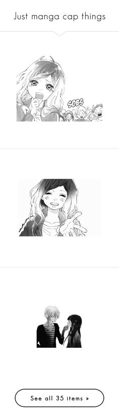 """""""Just manga cap things"""" by main-protagonist ❤ liked on Polyvore featuring manga, anime, quotes, drawings, haikyuu and tokyo ghoul"""