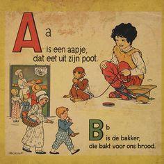 """""""A is een aapje, dat eet uit zijn poot"""" - Rie Cramer"""