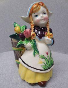 Vintage Napco Dutch Girl Planter j639