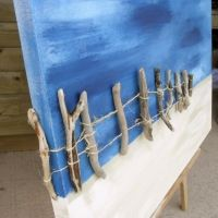 Driftwood Painting Original Art Recycled Wine Bottle Glass Windchime on Driftwood : Wind Chimes : Patio, Lawn & Garden Driftwood Sculpture, Driftwood Art, Seashell Art, Seashell Crafts, Art Plage, Original Paintings, Original Art, Painted Driftwood, Driftwood Projects