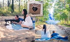 Keith Batchelder, 34, and Jamie Indiveri, 24, used a gun and colored powder to find out the gender of their unborn baby. The engaged couple, from Navarre, Florida, came up with the controversial method