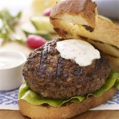 California Grilled Lamb Burger with Cumin Yogurt