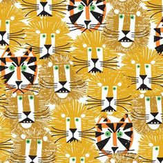 """""""Lions and Tigers"""" #textile print by the inimitable author and illustrator of children's books, Ed Emberley (""""Ed Emberley's Drawing Book of Animals"""", 1970)"""