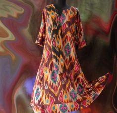 Longue robe kurta tons bruns et multicolores en coton motif ethnique Ikat : Robe par akkacreation