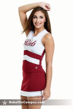 High School Cheer Uniform Ideas - maroon, silver and white.