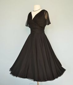 Vintage 1960s Cocktail Dress...Sophisticated Midnight Black Chiffon Cocktail Dress Party Dress S/M