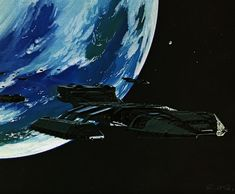The Anniversary of BATTLESTAR GALACTICA brings with it a bevy of new releases - Blu-rays, soundtracks, and this new portfolio of concept art by STAR WARS legend Ralph McQuarrie. Ralph Mcquarrie, Kampfstern Galactica, Battlestar Galactica 1978, Arte Sci Fi, 70s Sci Fi Art, Sci Fi Tv Shows, Space Battles, Star Trek Starships, Pop Culture Art