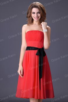 $29.48 Red Chiffon Bridesmaid Dress