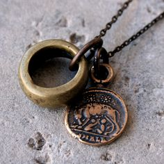 Roman Solid Bronze Coin Necklace with Romulus and Remus & Antique African Brass Ring