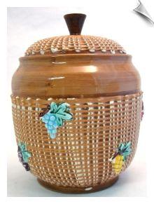 Vintage Majolica Cookie Jar Italy Grapes Basket Weave