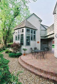 New Pea Gravel Patio Project! & Backyard Inspiration - The Inspired Room (Curved Patio Step) Pea Gravel Patio, Gravel Walkway, Concrete Patio, Backyard Patio, Walkways, Curved Patio, Gravel Garden, Garden Paths, Raised Patio