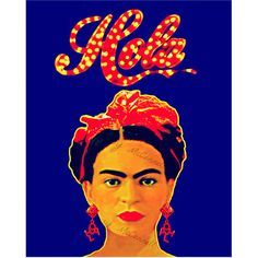 Frida Kahlo Poster Hola Instant Digital Download Print Modernist Boho... (44.920 COP) ❤ liked on Polyvore featuring home, home decor, wall art, spanish home decor, orange home decor, orange wall art, spanish posters and blue home decor