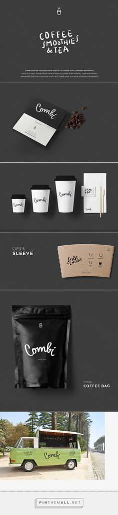Empaque, branding, icon design and packaging for Combi - Coffee Truck on Behance by 327 Creative Studio curated by Packaging Diva PD. Reflecting current trends on food/drinks mobile trucks in Porto. With a classic Combi truck, our challenge was to turn it Café Branding, Coffee Shop Branding, Coffee Shop Logo, Coffee Shop Design, Coffee Packaging, Brand Packaging, Packaging Design, Branding Design, Mobile Coffee Shop