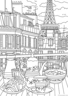 Paris - Printable Adult Coloring Page from Favoreads (Coloring book pages for adults and kids, Coloring sheets, Coloring designs) - Architecture Train Coloring Pages, Printable Coloring Sheets, Printable Adult Coloring Pages, Disney Coloring Pages, Coloring Pages For Kids, Coloring Books, Kids Coloring, Print Pictures, How To Draw Hands