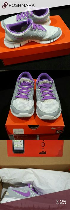 Women's Nike Free Run+ White with violet and wolf grey. Green inside. Original packaging. Used. Grey above sole is rubbed off in some areas due to being thrown in the washing machine. Nike Shoes Athletic Shoes