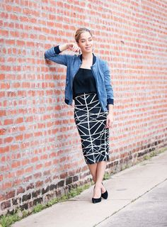 I love this geo print midi skirt from Pixley that I paired with a solid Le Lis Blouse, both from Stitch Fix.