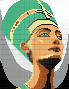 Egyptian queen chart for cross stitch, knitting, knotting, beading, weaving, pixel art, and other crafting projects.
