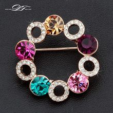 DFX007 Rhinestone Flower 18K Gold Plated Vintage Pins and Brooches Bouquet Jewelry For Women Christmas Gifts Crystal For Wedding(China (Mainland))