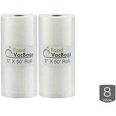 Two 8-Inch X 50-Ft Rolls Vacuum Food Sealer Bags Embossed 4 mil Commercial Grade Food Saver