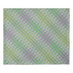 Two sided Duvet cover Colorful pink green zigzag pattern #zazzle #style #trends #decor