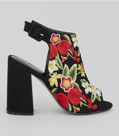 Black Suedette FLoral Embroidered Peep Toe Heels | New Look
