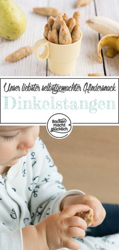 Dinkelstangen für Babys These healthy spelled bars for babies have been part of our standard family snack repertoire for some time ; The healthy children's snack consists only of fruit, flour a Homemade Baby Foods, Homemade Soup, Nutritious Snacks, Healthy Snacks For Kids, Healthy Children, Baby Food Recipes, Healthy Recipes, Diabetic Recipes, Baby Snacks