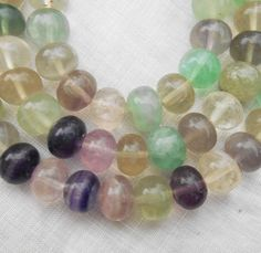 One 15 inch strand (50 8 x 10mm beads) multicolored fluorite rondelles, large, smooth round semiprecious gemstone rondelle beads 00350