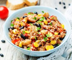Break out your crockpot and make this hearty THM:E Trim Healthy Mama Slow Cooker Chicken and Rice. It takes less than 10 minutes to put together and will fill you up! Baked Mexican Rice Recipe, Mexican Fried Rice, Mexican Rice Recipes, Mexican Meals, Mexican Cooking, Mexican Dishes, Healthy Crockpot Recipes, Cooking Recipes, Thm Recipes
