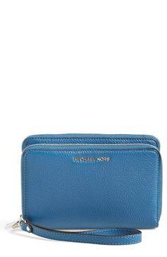 MICHAEL MICHAEL KORS 'Adele' Leather Wristlet. #michaelmichaelkors #bags #shoulder bags #leather #lining #pouch #accessory