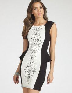 Herve Leger Sleeveless Printed Peplum Bandage Dress