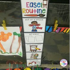 Go grab my Art Easel Routine from my store (it's a freebie)! Perfect for any early childhood classroom. It's a visual to help students be independent in the art center.