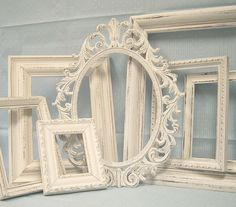 Shabby Chic Picture Frames White Ornate Collection French Victorian Gallery Grouping Distressed Vintage B Empty Picture Frames, Shabby Chic Picture Frames, Victorian Picture Frames, Painted Picture Frames, Victorian Pictures, Empty Frames, Vintage Italy, Photo Displays, Baby Decor